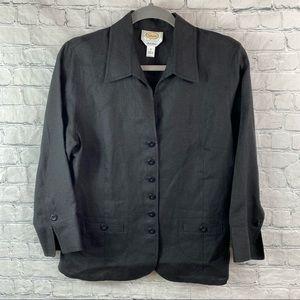 Talbots Irish Linen Long Sleeve Button Blouse Top